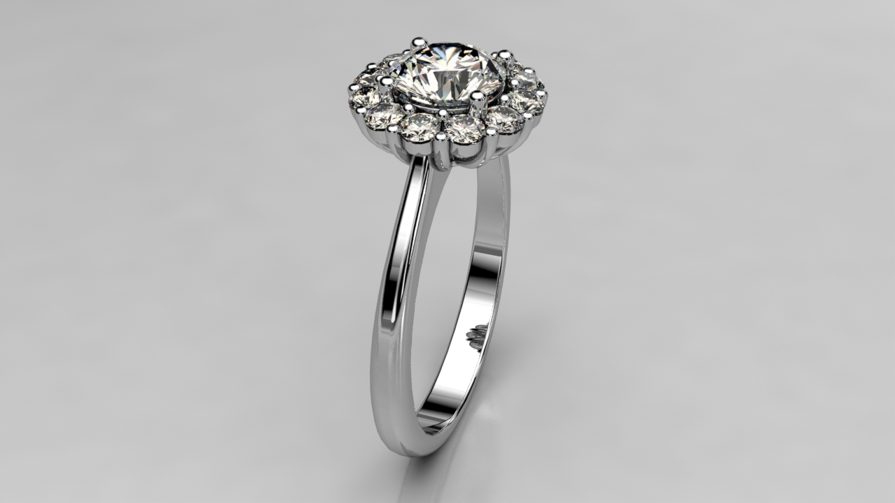 Tapered Halo Engagement ring