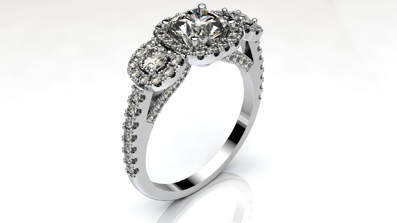 3 Stone Halo Engagement ring