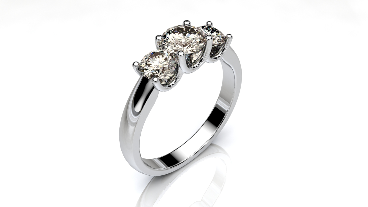 3 Stone U-collet Engagement Ring