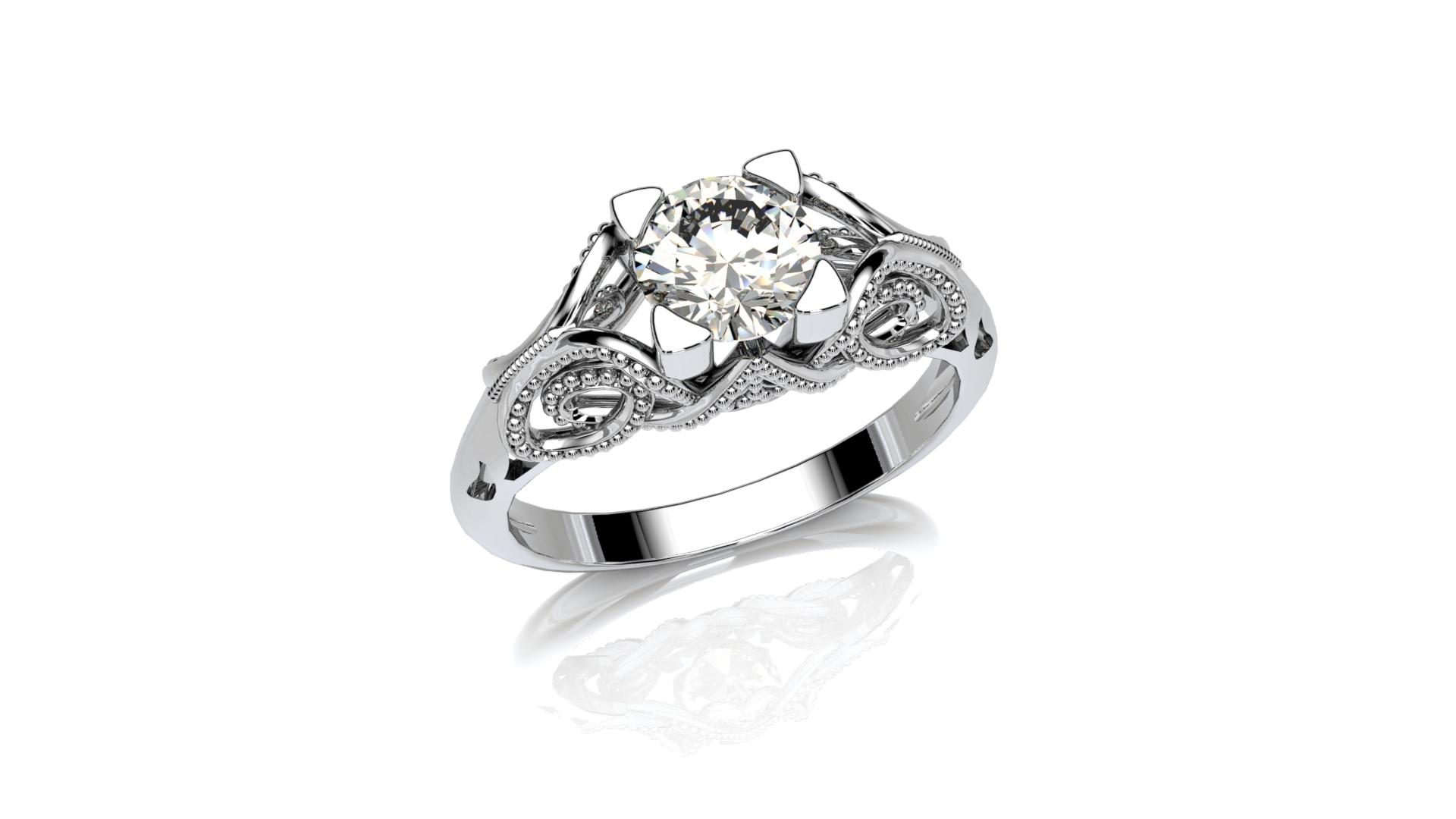 Vintage Milgrain Diamond Ring