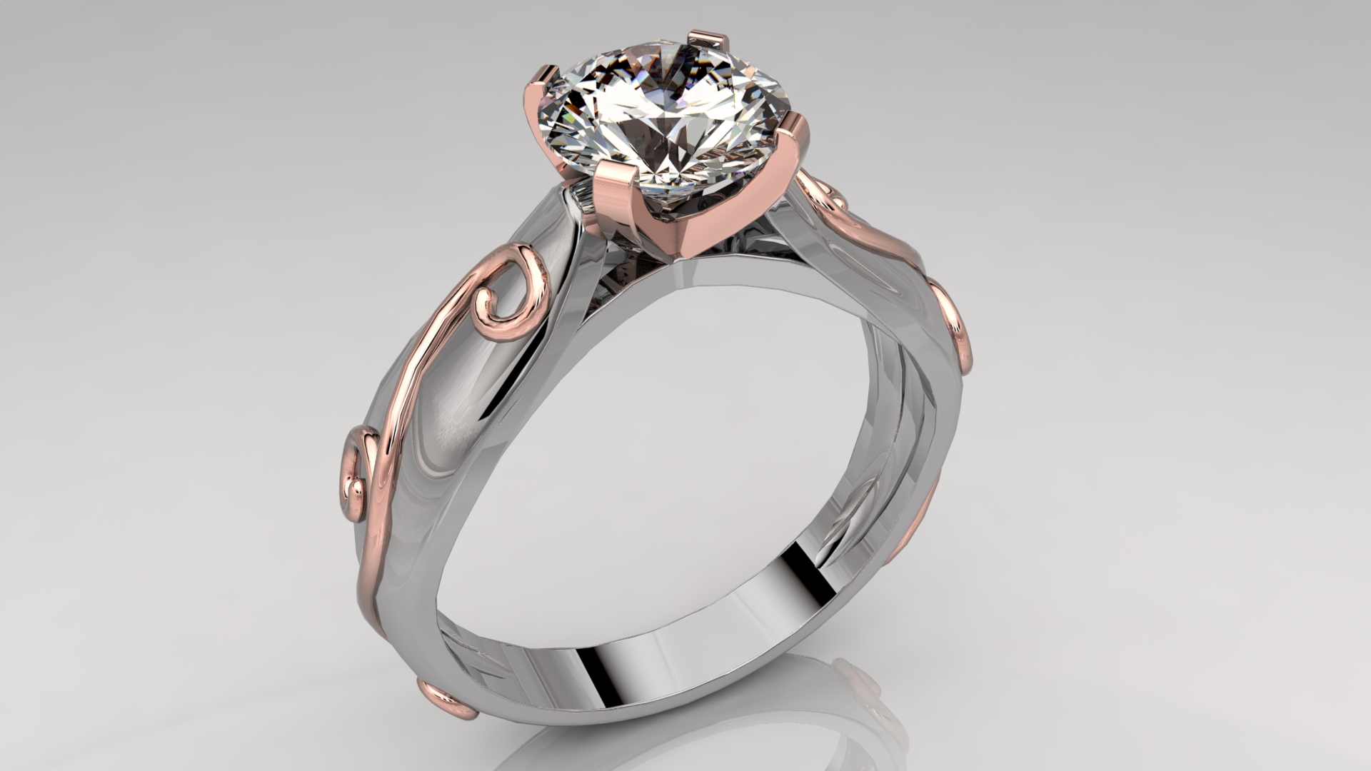 Vine Solitaire Engagement Ring