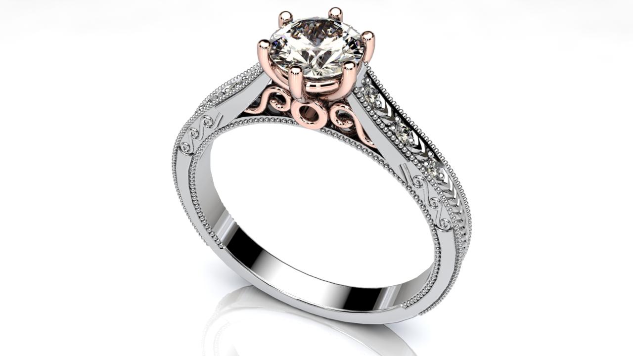 two tone milgrain engagement ring