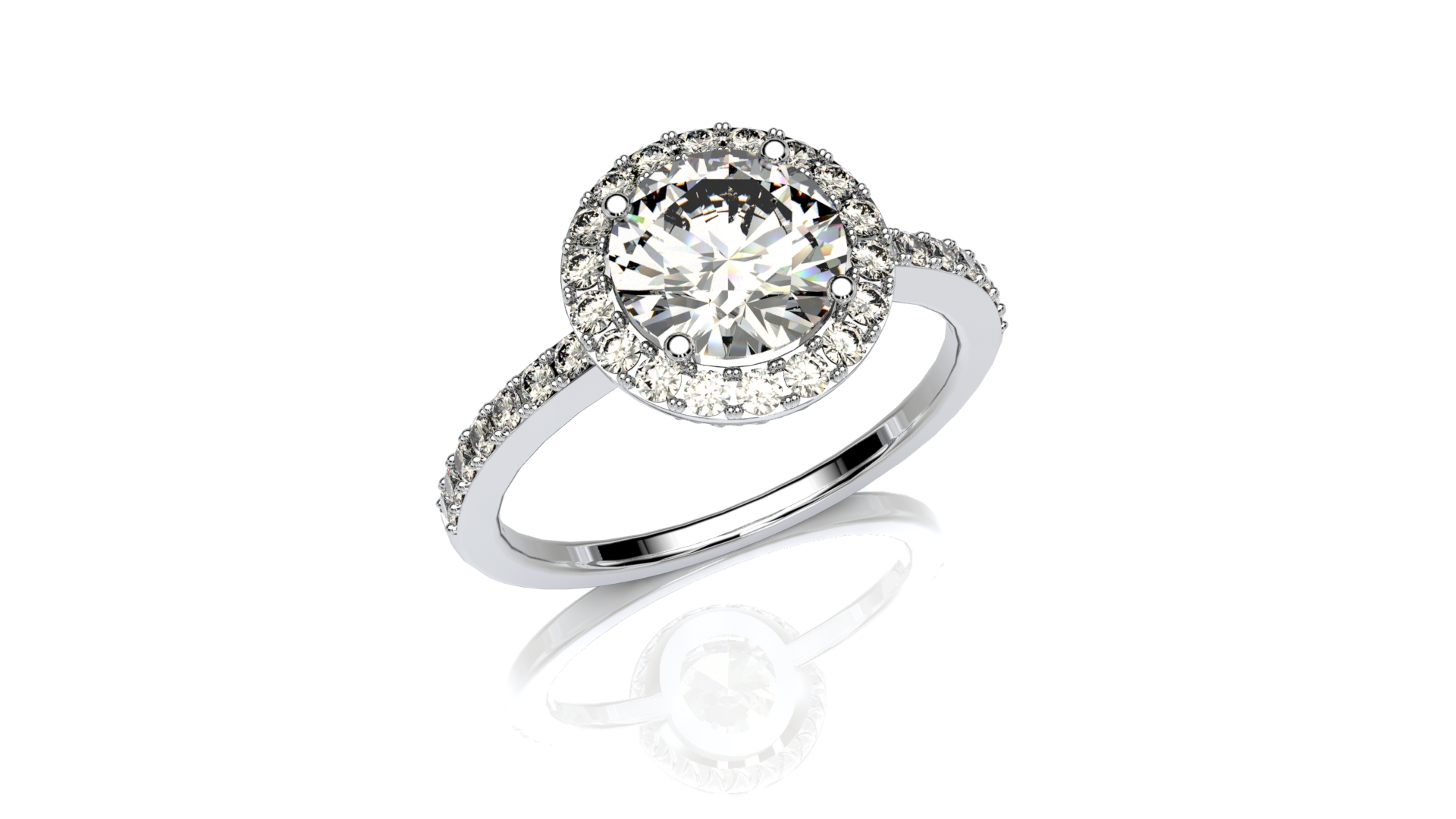 sidestone halo engagement ring