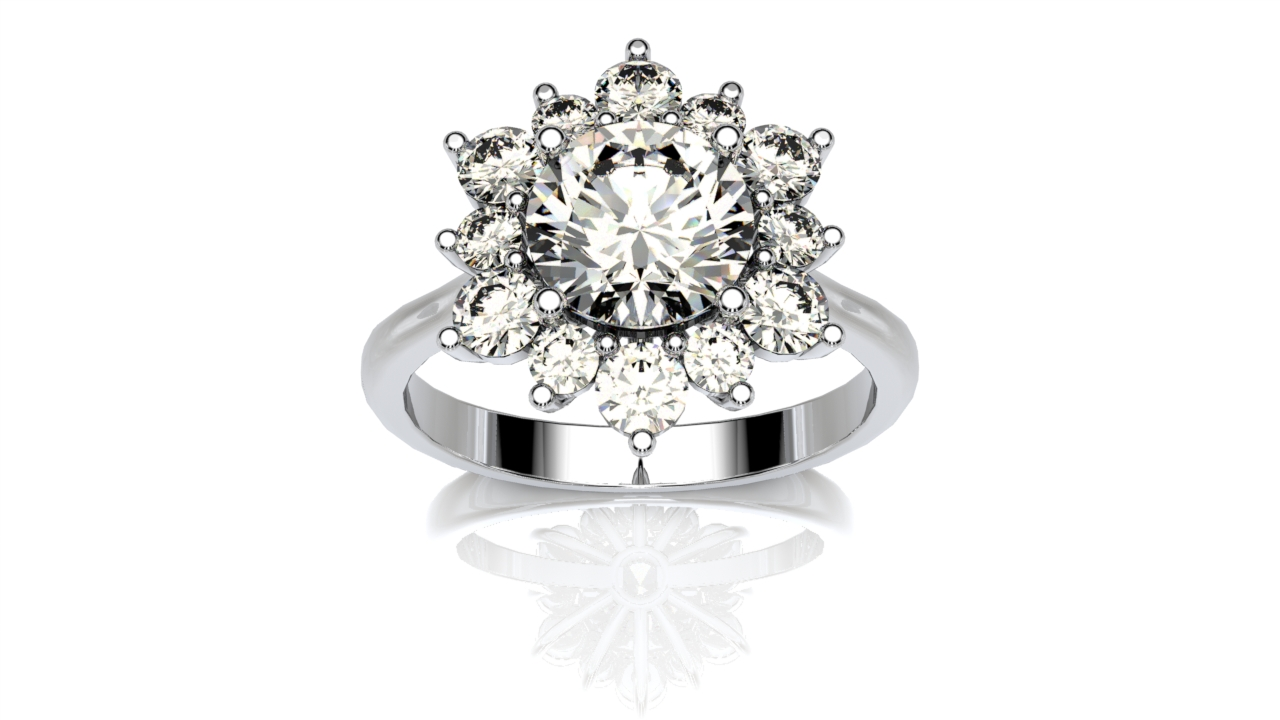 Floral Halo Engagement Ring