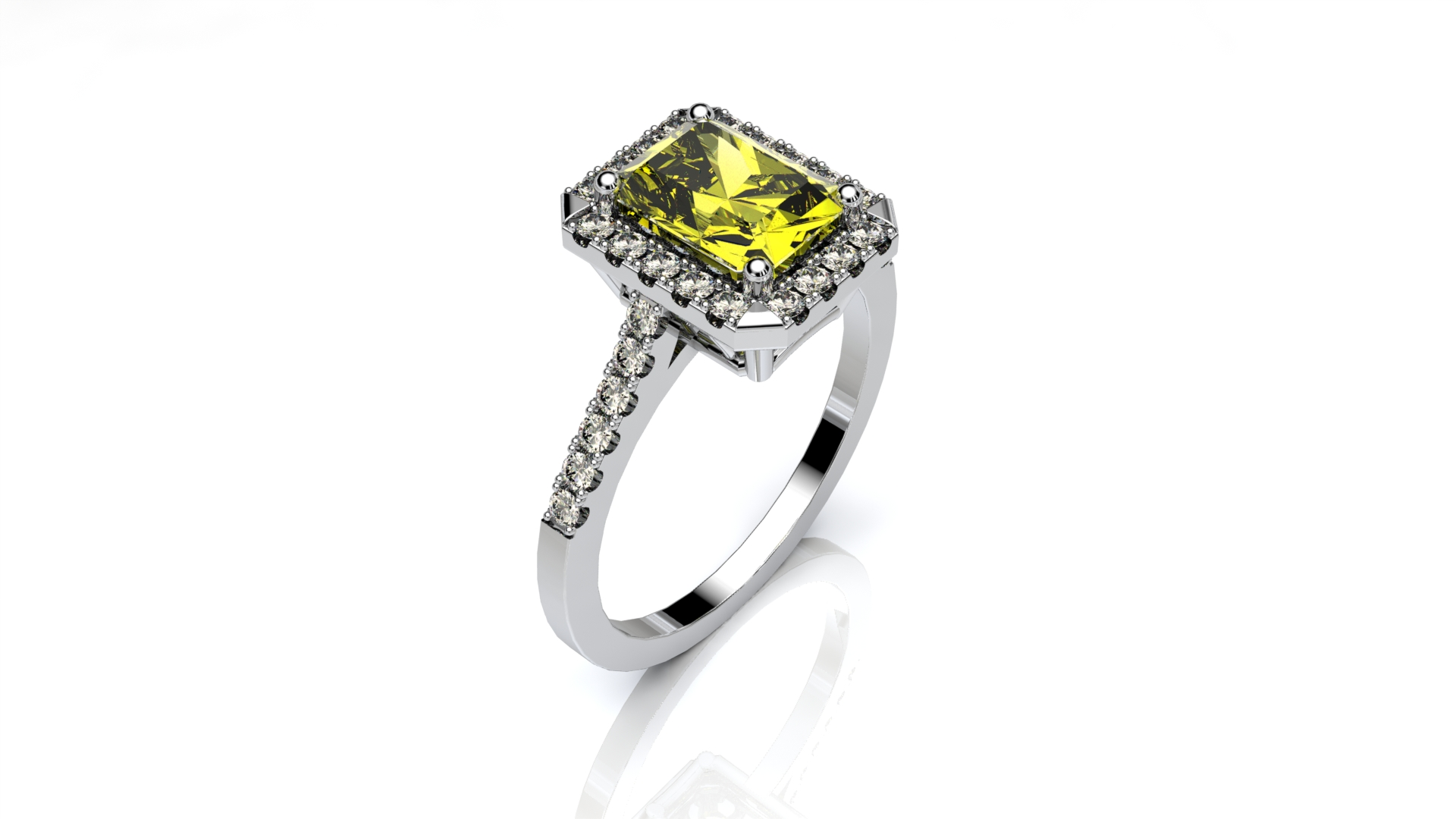Fancy Yellow Cushion Halo Engagement Ring