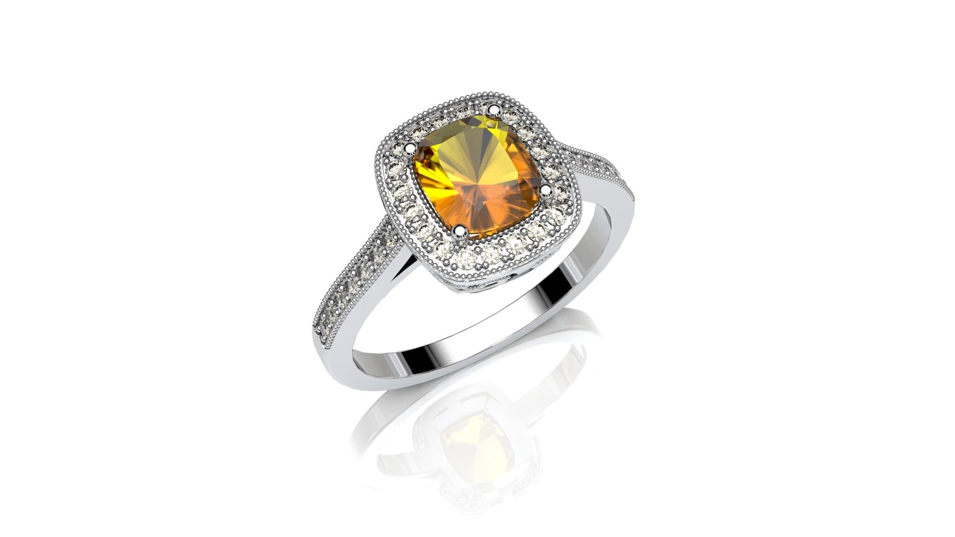 Fancy Orange Halo Engagement Ring