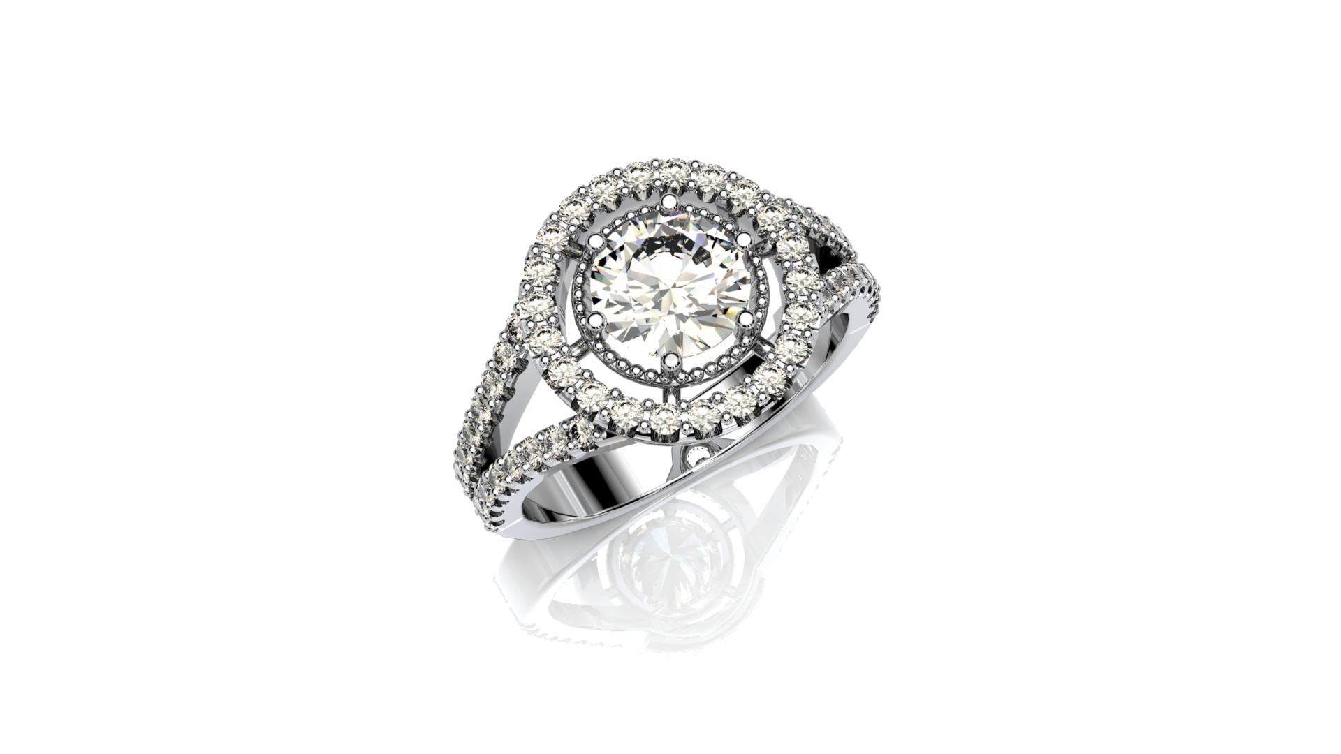Split-Shank Floating Halo Diamond Engagement Ring